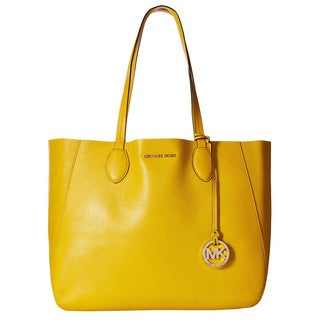 Michael Kors Mae Sunflower/White Large East/West Tote Bag