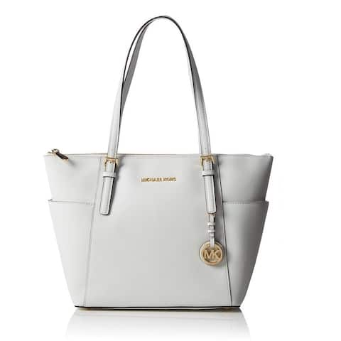 Michael Kors Jet Set Optic White East/West Top Zip Tote Saffiano Leather Tote Bag
