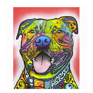 Pitbull Red Colorful Animals Printed on Metal Wall Decor