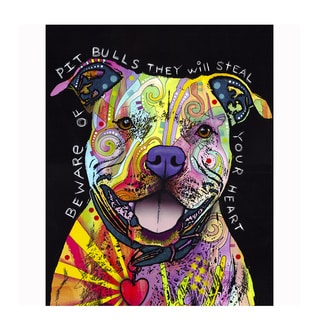 Pitbull Heart Colorful Animals Printed on Metal Wall Decor