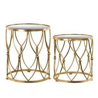 Metal Round Table with Beveled Mirror Top Set of Two Distressed Metallic Finish Gold