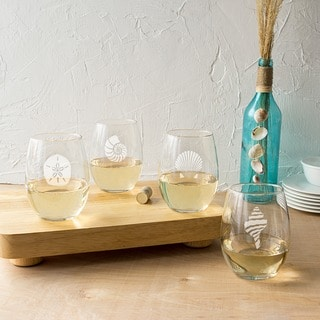 21 ounce Seashell Stemless Wine Glasses