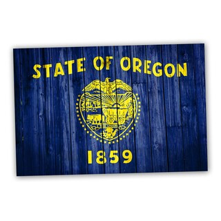 Oregon State Flag 18x12 National Patriotic Flag Ready to Hang Printed on Metal Wall Decor