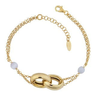 Fremada 18k Gold Over Sterling Silver Italian Double Oval Link and Cat's Eye Adjustable Length Bracelet