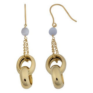 Fremada 18k Yellow Gold Over Sterling Silver Italian Double Oval and Cat's Eye Drop Earrings
