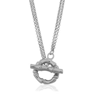 Argento Italia Rhodium Plated Sterling Silver Double Strand Rolo and Bamboo Design Lariat Toggle Necklace (18 inches)