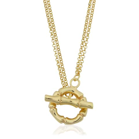 Fremada 18k Yellow Gold Over Sterling Silver Italian Double Strand Rolo and Bamboo Design Lariat Toggle Necklace (18 inches)