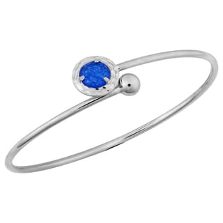 Argento Italia Rhodium Plated Sterling Silver 2-mm Faceted Round Blue Agate Bypass Bangle