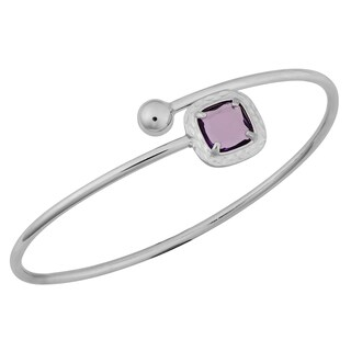 Argento Italia Rhodium Plated Sterling Silver 2-mm Faceted Amethyst Bypass Bangle