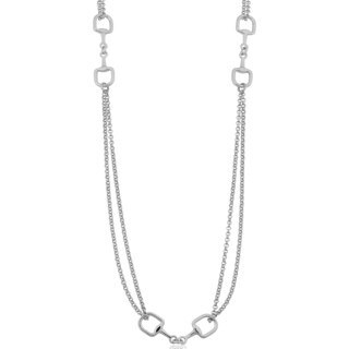 Argento Italia Rhodium Plated Sterling Silver Horsebit Station Necklace (26 inches)