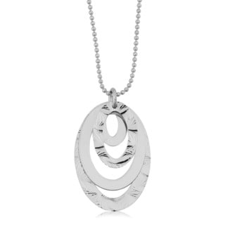 Argento Italia Rhodium Plated Sterling Silver Graduated Ovals On Adjustable Length Bead Chain Necklace