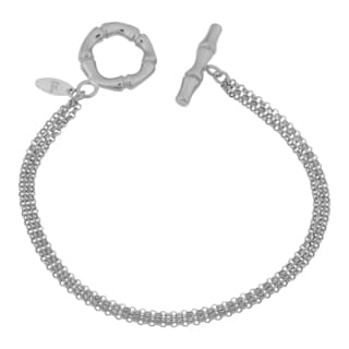 Argento Italia Rhodium Plated Sterling Silver Triple Strand Rolo and Bamboo Design Toggle Bracelet (7.5 inches)