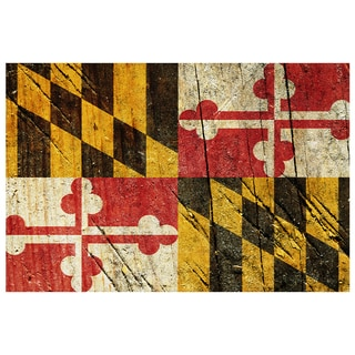 Maryland State Flag 18x12 Ready to Hang Printed on Metal Wall Decor