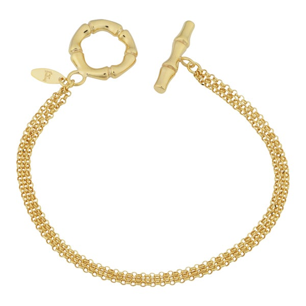 Fremada 18k Yellow Gold Over Sterling Silver Italian Triple Strand Rolo and Bamboo Design Toggle Bracelet (7.5 inches)