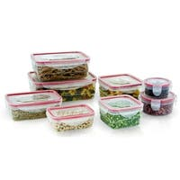 16 Piece Plastic Food Storage Containers Set with Air Tight Locking Lids