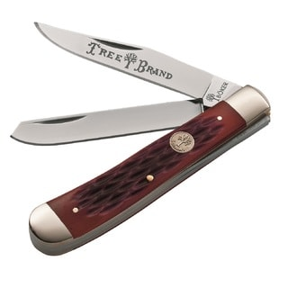 Boker TS Trapper Fldng Knife 3.25in Steel Blde Red Bone Hndl