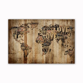 Love World Map Digital Art Printed on Ready to Hang Framed Stretched Canvas