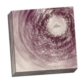 Love Word Whirlwind 16 x 16 Digital Image Printed on Metal Wall Decor