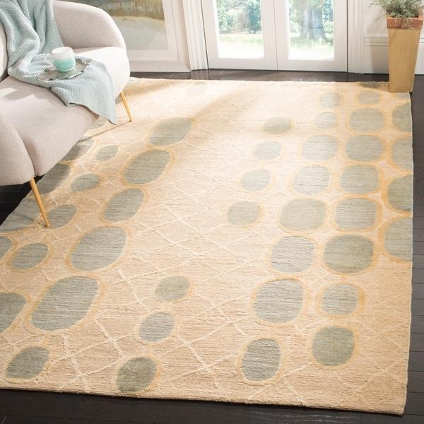 Safavieh Hand-knotted Santa Fe Abstract Beige/ Slate Grey Wool Rug - 9' x 12'