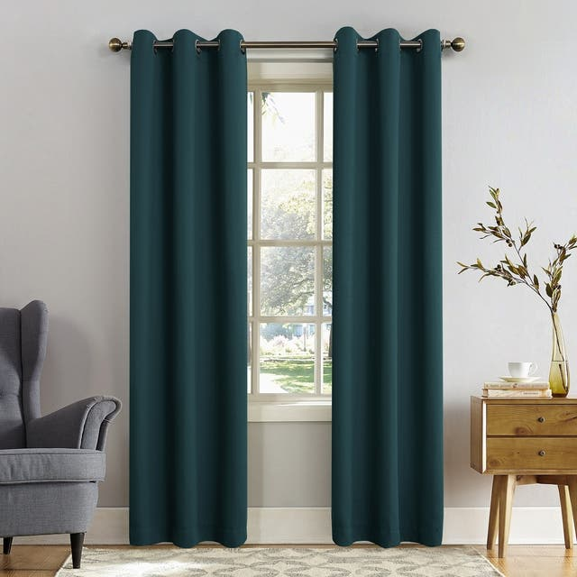 Sun Zero Hayden Energy Saving Blackout Grommet Curtain Panel, Single Panel - 40 x 108 - Teal