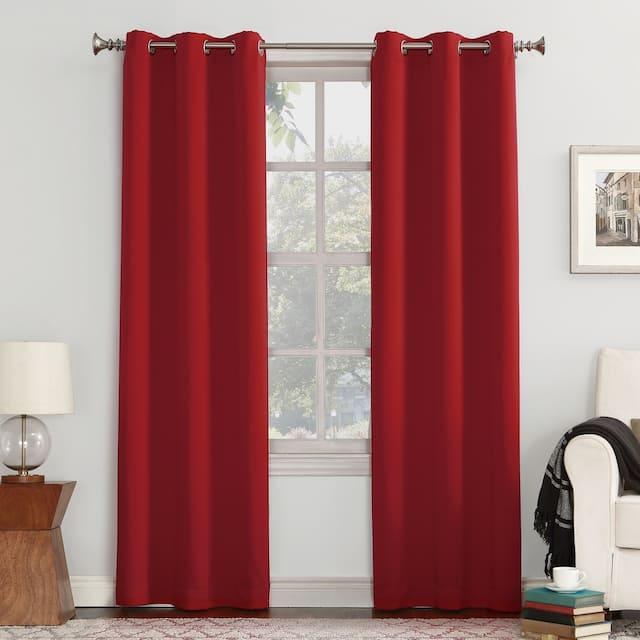 Sun Zero Hayden Energy Saving Blackout Grommet Curtain Panel, Single Panel - 40 x 95 - Red
