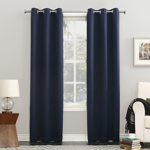 Sun Zero Hayden Energy Saving Blackout Grommet Curtain Panel, Single Panel - 40 x 95 - Navy