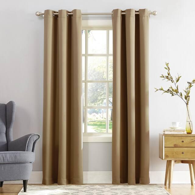 Sun Zero Hayden Energy Saving Blackout Grommet Curtain Panel, Single Panel - 40 x 63 - Taupe