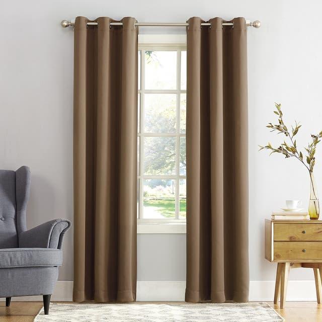 Sun Zero Hayden Energy Saving Blackout Grommet Curtain Panel, Single Panel - 40 x 95 - Barley