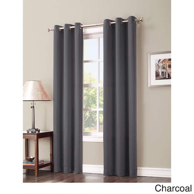 Sun Zero Hayden Energy Saving Blackout Grommet Curtain Panel, Single Panel - 40 x 63 - Charcoal