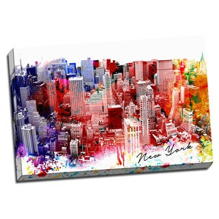 New York Watercolor Painting 24x36 Printed on Framed Ready to Hang Canvas