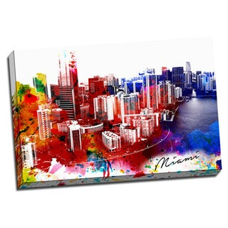 Miami Painting Printed on Framed Ready to Hang Canvas