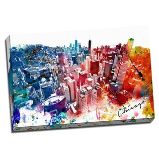Chicago Painting Printed on Framed Ready to Hang Canvas