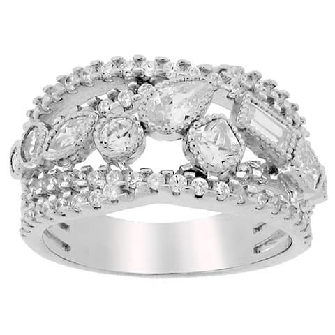 Meredith Leigh Sterling Silver Cubic Zirconia Cocktail Ring