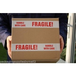 216 Rolls Fragile Tape Printed Box Shipping Packing 2-inch x 110 Yards 2 mil