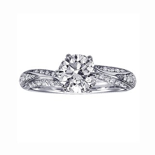 14k White Gold 1 1/3ct TDW Prong-set Diamond Engagement Ring