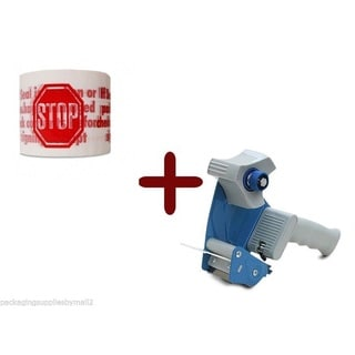 White Stop Sign Tape 3-inch x 110 Yards 6 Rolls 2 Mil + (1) Free 2-inch Tape Gun Dispenser