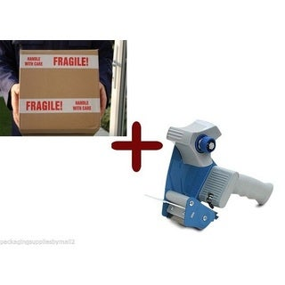 24 Rolls Fragile Shipping Tape 3-inch x 110 Yards 2 Mil + (1) Free 2-inch Tape Gun Dispenser