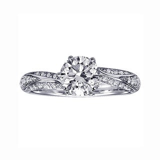 Platinum 1 1/3ct TDW Prong Set Diamond Engagement Ring