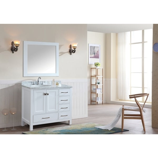 Bella 36 Inch White Single Bathroom Vanity Set With Mirror