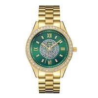 Jbw Woman's Goldplated Stainless Steel Mondrian J6303E Green Dial Diamond Watch