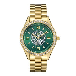 Jbw Woman's Goldplated Stainless Steel Mondrian Green Dial Diamond Watch