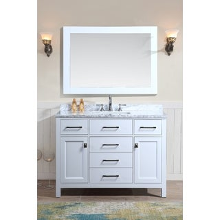 Bella 48 Inch White Single Bathroom Vanity Set with Mirror