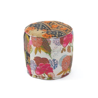Multi-Color Pouf with Various Floral Designs