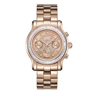 JBW Woman's 18k Rose Goldplated Stainless Steel Laurel J6330C Multifunction Swiss Quartz Diamond Watch