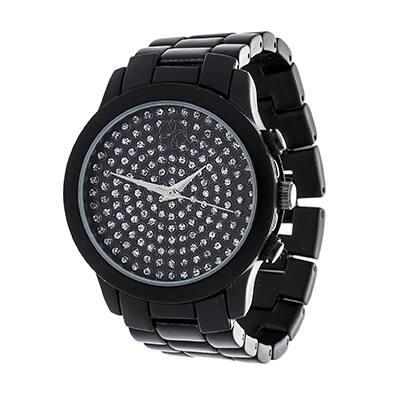 Fortune NYC Boyfriend Black Case with CZ Dial / Black Strap Watch