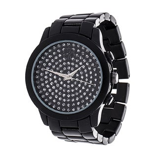 Fortune NYC Boyfriend Black Case with CZ Dial / Black Strap Watch