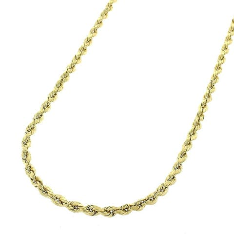 """10k Yellow Gold 2mm Hollow Rope Diamond-Cut Link Twisted Chain Necklace 16"""" - 24"""""""