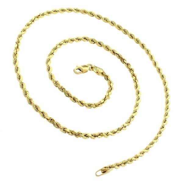 "10K Yellow Gold 5mm Men/'s Women/'s Hollow Diamond Cut Rope Chain Necklace 16/""-30/"""