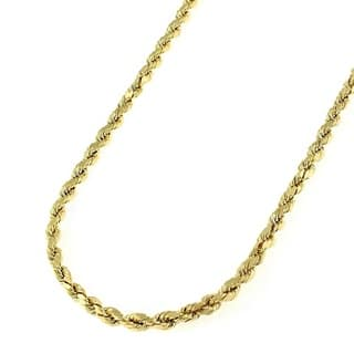 """10k Yellow Gold 2.5mm Hollow Rope Diamond-Cut Link Twisted Chain Necklace 16"""" - 26"""""""