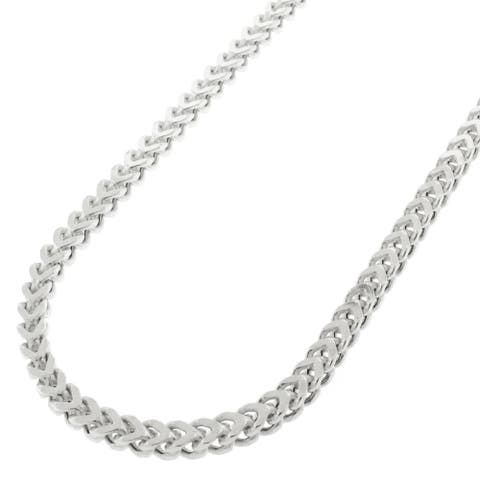 "Authentic Sterling Silver 3mm Hollow Franco Square Box Link .925 Rhodium Necklace Chain 16"" - 40"""